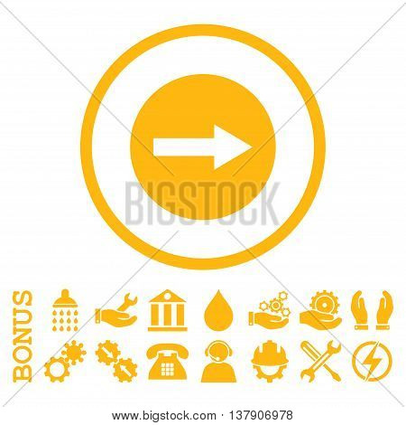 Right Rounded Arrow vector icon. Image style is a flat pictogram symbol inside a circle, yellow color, white background. Bonus images are included.