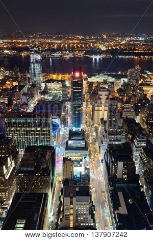 New York City west side 34th street urban cityscape view at night.