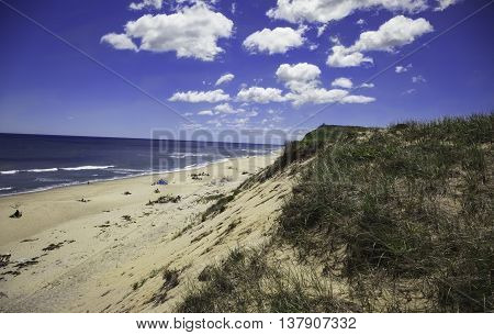 Blue sky and clouds at Marconi Beach, Wellfleet, MA