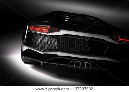 Black fast sports car in spotlight, black background. Shiny, new, luxurious. 3D rendering