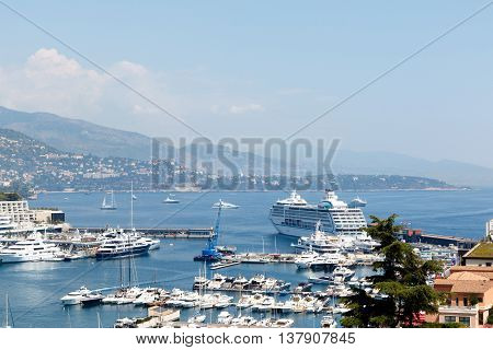 Monte Carlo harbor, Monaco with luxury yachts. Horizontal with copy space for text