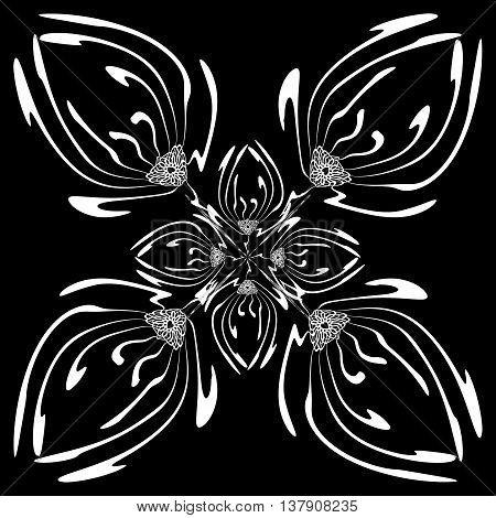 Tulip. Black and white square pattern of tulips