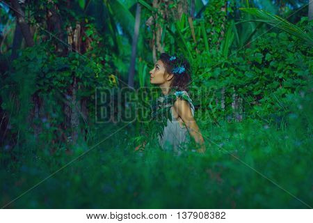 Sensual Portrait Of Young Beautiful Woman With Jungle Background