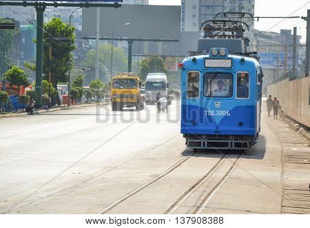 Yangon Myanmar - April 25 2016 : Yangon Tram. begun service on 11 January 2016 using a single 50-year old tram from Hiroshima Japan