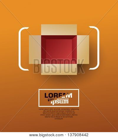 Open box. Top view. Vector illustration.