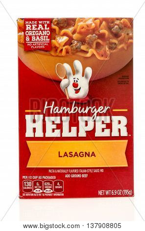 Winneconnie WI - 10 July 2016: Box of Hamburger Helper in lasagna flavor on an isolated background.