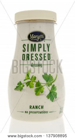 Winneconnie WI - 10 July 2016: Bottle of Marzetti simply dressed salad dressing in ranch flavor on an isolated background.