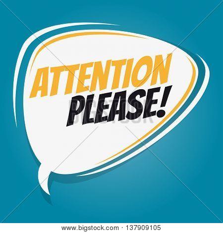 attention please retro speech bubble