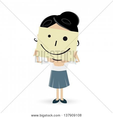 businesswoman with smile note over her face