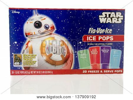 Winneconnie WI - 10 July 2016: Package of Star Wars ice pops on an isolated background.