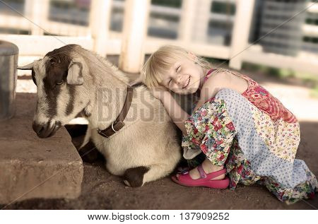 Little smiling girl hugging the goat. White/gray background behind