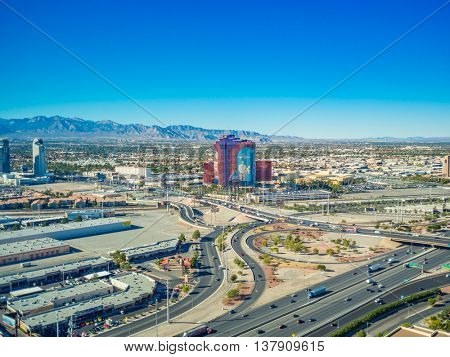 LAS VEGAS, USA - November 12: Aerial view of Las Vegas strip on November 12, 2015 in Las Vegas, USA. Las Vegas is one of the top tourist destinations in the world