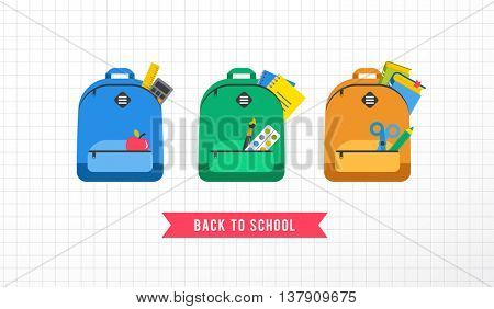 Student bag, backpack colorful set of icons. Back to school concept