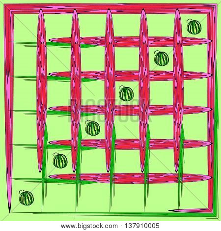 Crimson net. Watermelons in the grid of the raspberry for the background or pattern