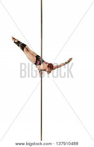Gymnast dancing on pole. Isolated over white background