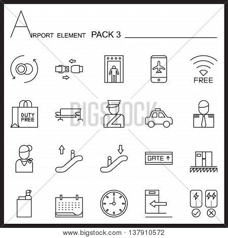 Airport Element Line Icon Set.Pack 3.Mono pack.Graphic vector logo set