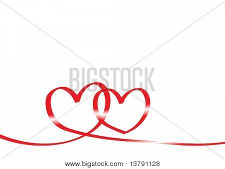 Vector illustration of red tape in form of two hearts