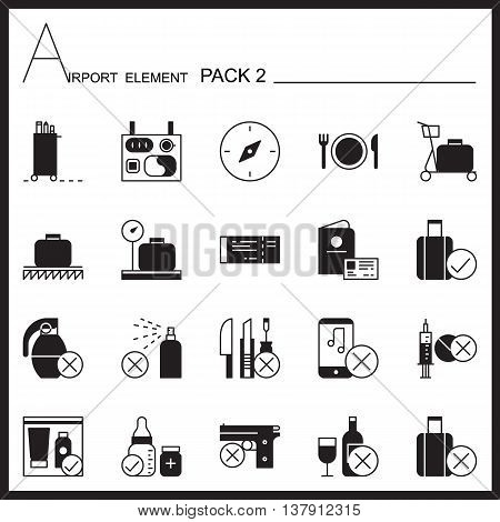 Airport Element Line Icon Set2.Mono pack.Graphic vector logo set