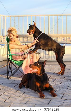 Beautiful blonde in a pink dress sitting on a folding chair plays with the dogs on the roof