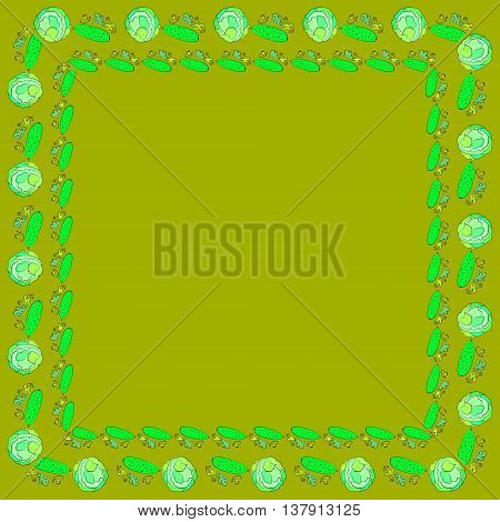Frames of cabbage and cucumbers. Colored square frames of cucumbers and cabbage