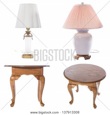 Collage photo of bedside tables and laps isolated on white background