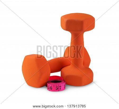 Two orange plastic coated dumbbells with measuring tape isolated on white. Fitness and healthy lifestyle weight control concept