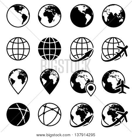 Vector black earth globe icons. Planet globe monochrome and world globe of set illustration