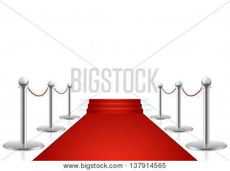 Red carpet with stairs vector illustration. Carpet for event and luxury red carper with stairway