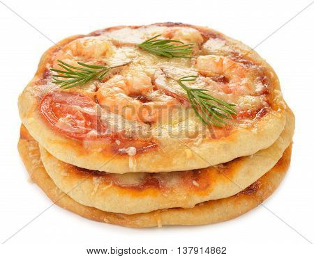 Pizza with shrimp and rosemary isolated on white background