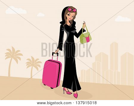 Arab Woman Traveling - Arab woman traveling wearing his traditional Arabic dress and a head scarf.