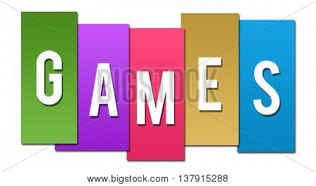 Games text alphabets written over colorful background.