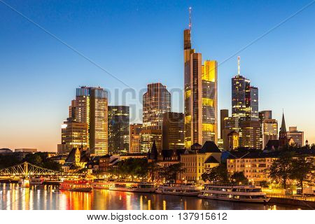 Germany Frankfurt am Main skyline sunset night