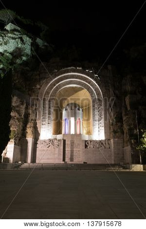 Nice France, Monument aux Morts at night