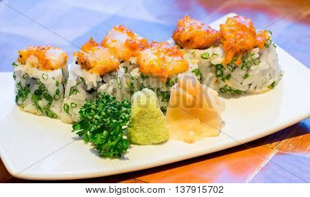 Spicy scallops Sushi,  Japanese Cuisine