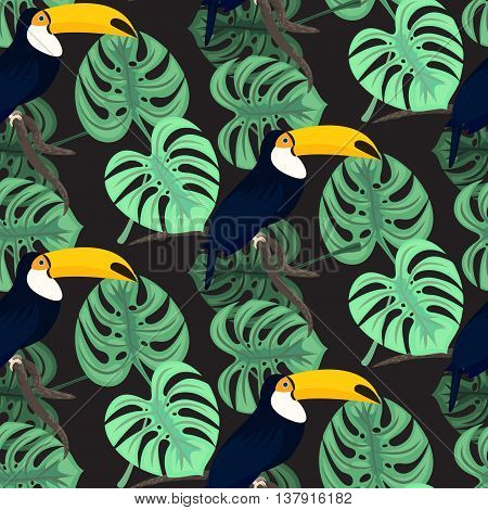 Monstera tropic plant leaves and toucan bird green dark seamless pattern. Exotic nature pattern for fabric, wallpaper or apparel.
