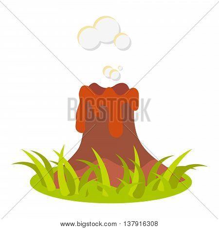 Cartoon volcano eruption vector illustration. Isolated volcano on white.