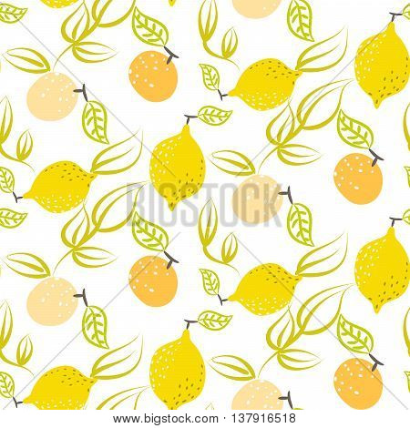 Yellow lemon with leaves vector seamless pattern. Citrus fruits on white background summer fresh design for textile and apparel.