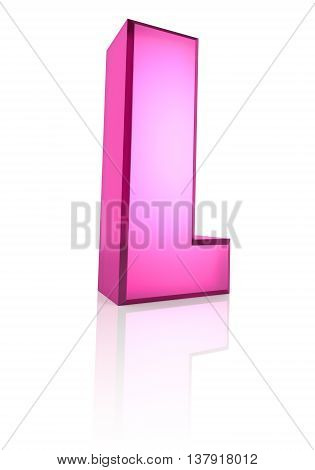 Pink letter L isolated on white background. 3d rendering