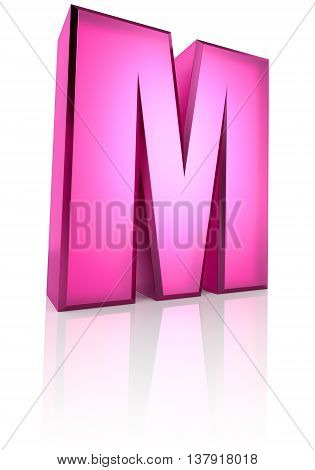 Pink letter M isolated on white background. 3d rendering