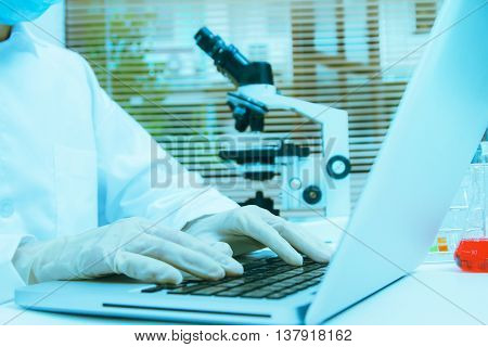 Female Scientists Using Microscopes In Laboratory,female Medical Or Scientific Researcher Or Woman D