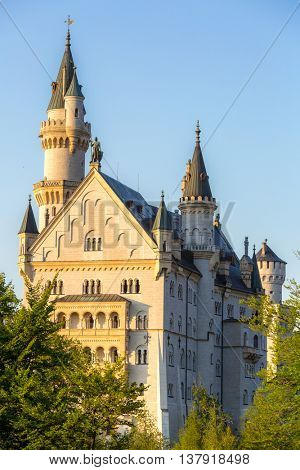 Beautiful summer romantic view of the Neuschwanstein castle at Fussen Bavaria, Germany