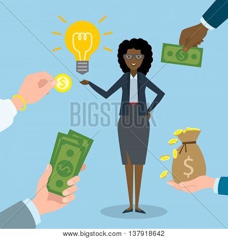 Businesswoman gets money for the idea. Beautiful african american businesswoman has idssea bulb. Selling new ideas, getting money. Funding concept.