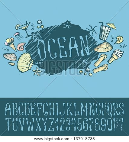 Vector label with hand made font. With inscription Ocean