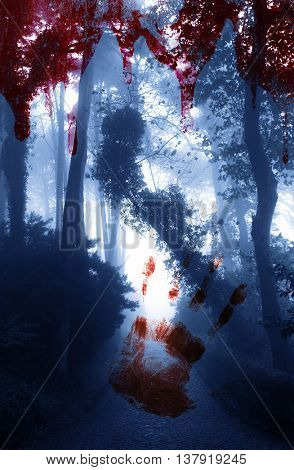 Halloween background. Bloody hand print and blood streaks on the background of the misty forest