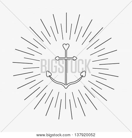 Anchor in shapes of heart. Round thin line frame label icon Ship anchor. Nautical sign symbol. Isolated White background. Flat design. Vector illustration