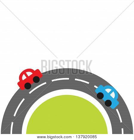 Round road on the bottom and cartoon cars. Flat design. Green grass. White background Vector illustration