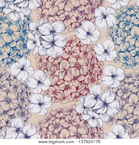 Hydrangea seamless pattern. Retro floral background