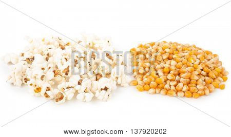Pop corn, before and after pop, ingredient and product
