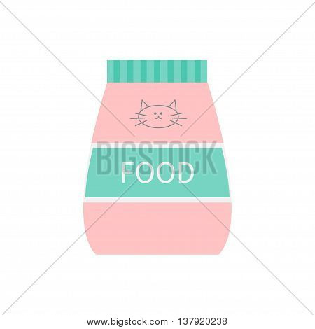 Pet cat dry food. Feed in plastic bag. Kitty face line sign symbol with moustaches. Fish and meat flavor. Flat design. White background. Isolated. Blue pink color. Vector illustration