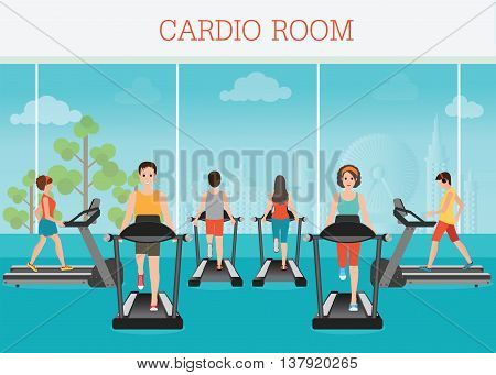 Young adult man and woman running on treadmill in gym interior sport fitness athletics healthy lifestyle. Cartoon character Vector illustration.